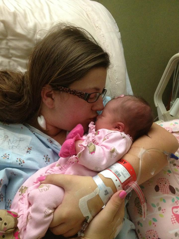Whitney and daughter after birth