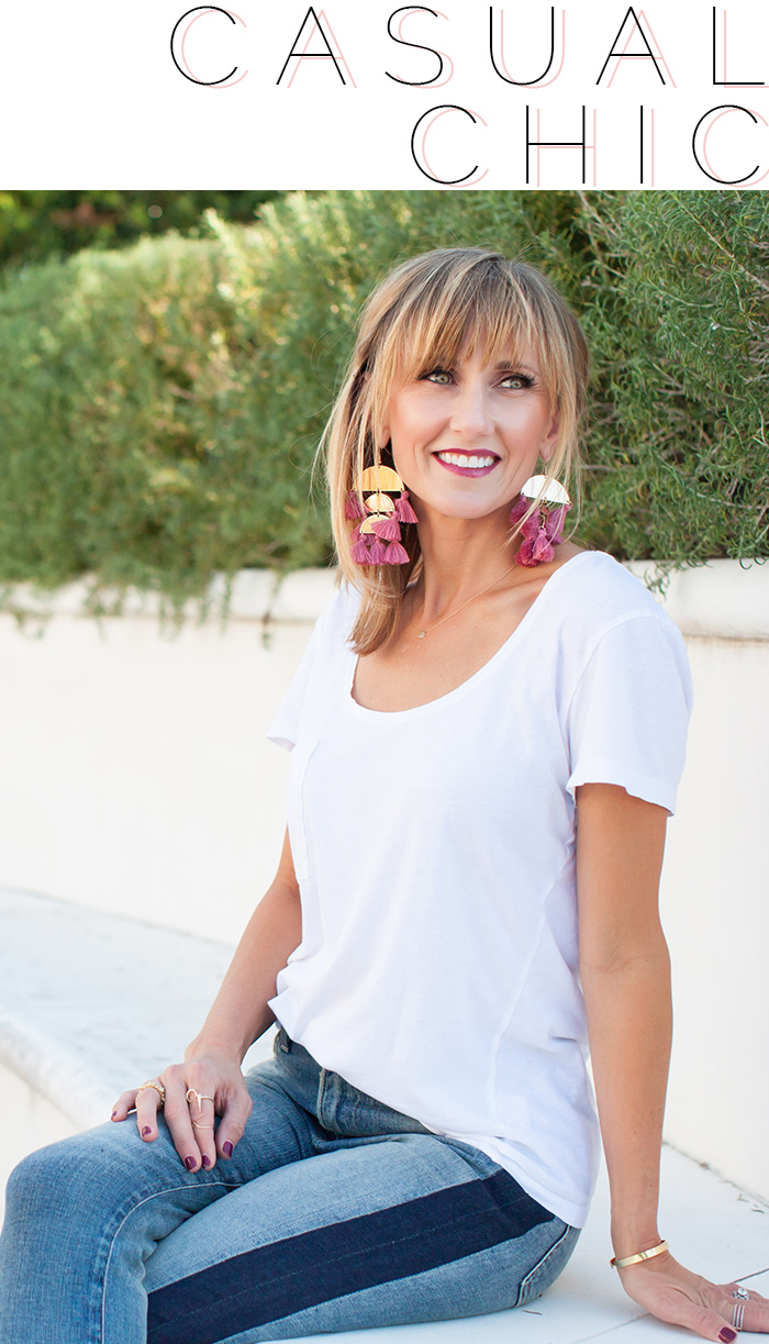 Casual look with statement earring