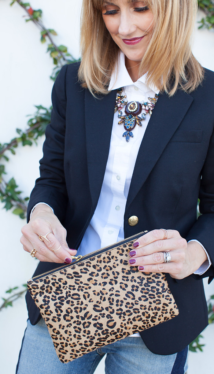 Preppy Details with leopard clutch