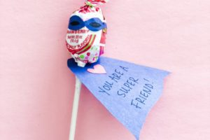 Lollipop superhero valentines