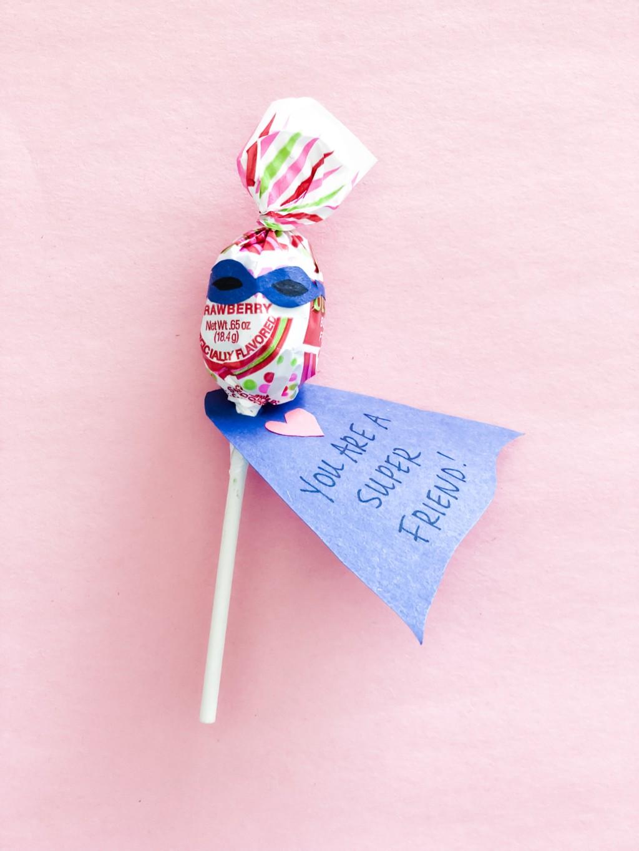 Lollipop superhero valentines