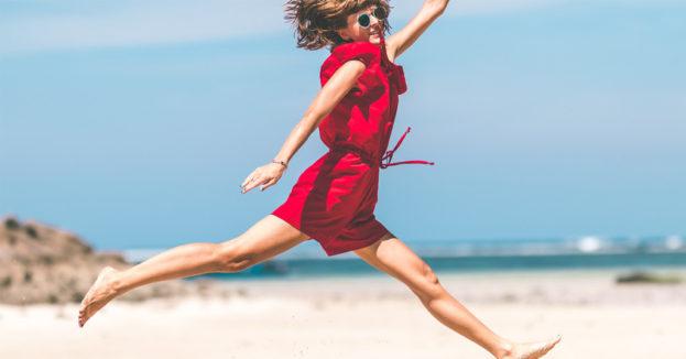 Celebration woman jumping