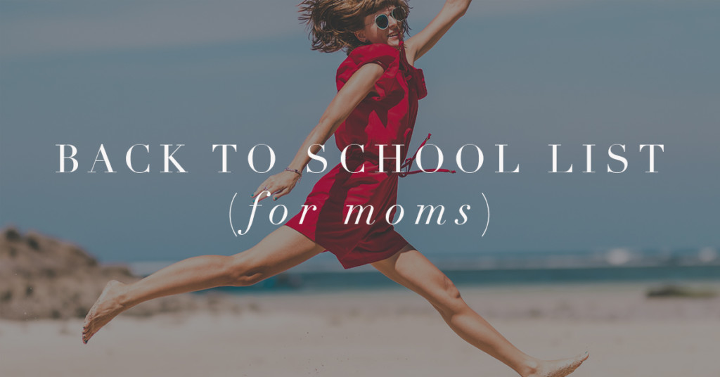 Back to school list for mom woman jumping on beach